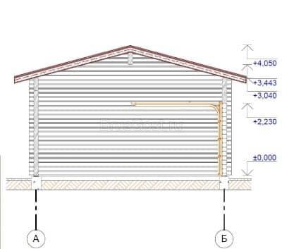 Гараж одноэтажный из профилированного бруса 8х8 м