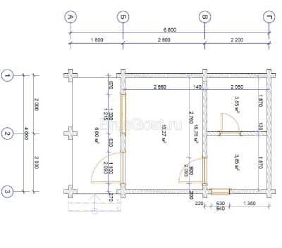 «Дрезна» — проект одноэтажной бани с верандой из профилированного сухого бруса