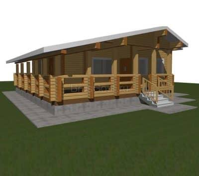 «Дубна» — проект одноэтажный дом-баня для постоянного проживания из профилированного сухого бруса под ключ
