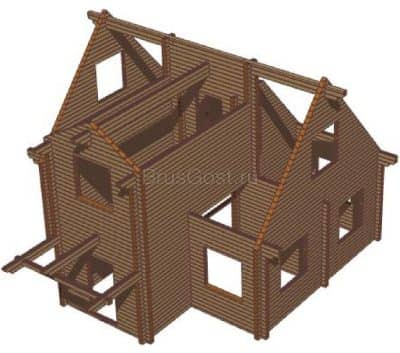 Проект дачного дома из бруса профилированного «Зеленоград»