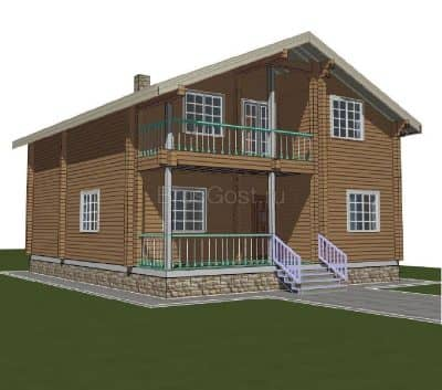 «Клин» — проект двухэтажного дома для постоянного проживания из профилированного сухого бруса под ключ