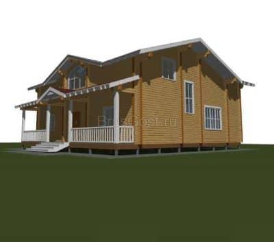 Проект загородного дома из бруса профилированного «Красногорск»