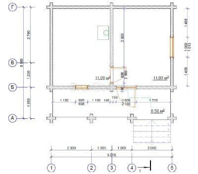 «Лобня» — проект одноэтажной бани с верандой из профилированного сухого бруса