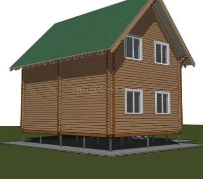 Проект дачного дома из бруса профилированного «Мытищи»