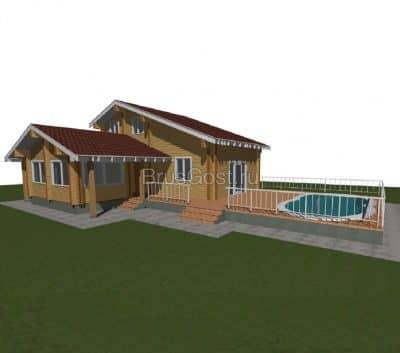 Проект дом-баня из профилированного бруса «Архангельск»