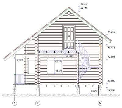«Нагорье» — проект двухэтажного дачного дома с эркером из профилированного сухого бруса 8х8 м под ключ
