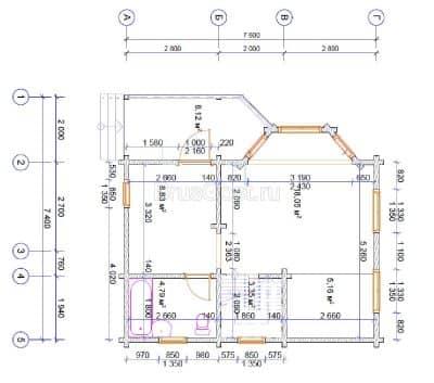 Проект дачного дома из профилированного бруса «Нагорье»