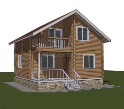 «Одинцово» — проект двухэтажного дачного дома из  профилированного сухого бруса 7х8 м под ключ