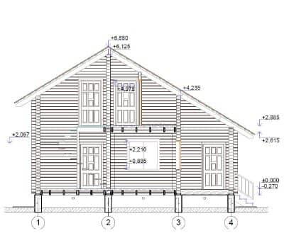 Проект загородного дома из бруса профилированного «Ожерелье»