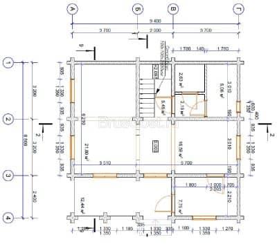 «Ожерелье» — проект двухэтажного загородного дома с верандой из профилированного сухого бруса 9х9 м под ключ