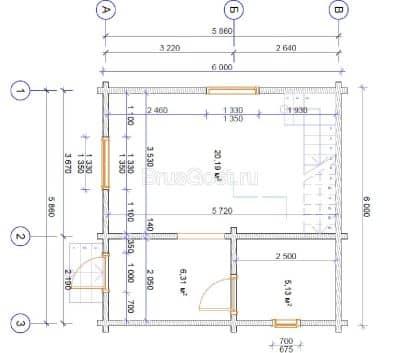 «Петровск» — проект двухэтажного дачного дома из профилированного сухого клееного бруса 6х6 м под ключ