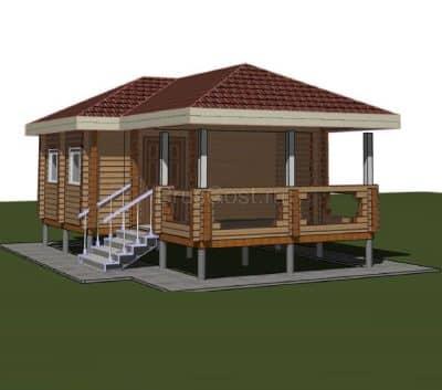 «Протвино» — проект одноэтажной бани с верандой из профилированного сухого бруса