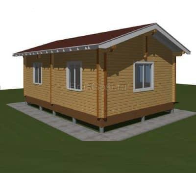 «Пущино» — проект одноэтажного дачного дома с верандой из профилированного сухого бруса  6х9 м под ключ