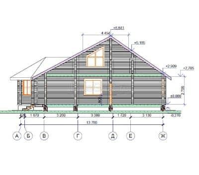 Проект загородного дома из бруса профилированного «Серпухов»