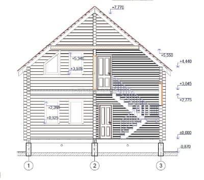 «Хотьково» — проект двухэтажного коттеджа из профилированного сухого бруса 7х9 м под ключ