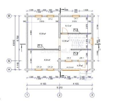 Проект дома из профилированного бруса «Хотьково»