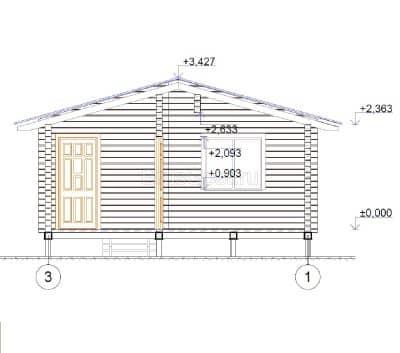 Проект бани из бруса профилированного с крыльцом «Ченцы»
