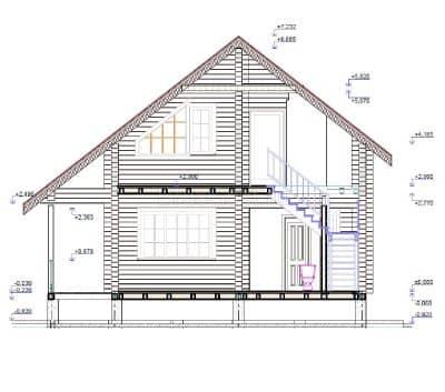«Щелково» — проект двухэтажного дачного коттеджа с верандой из профилированного сухого бруса 7х9 м под ключ