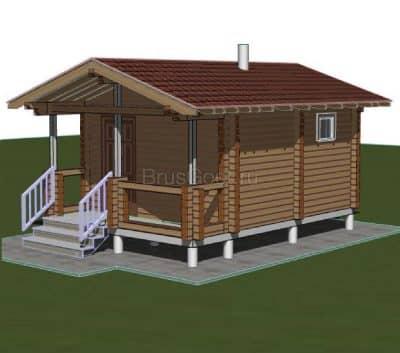 «Щербинка» — проект одноэтажной бани с верандой  из профилированного сухого бруса