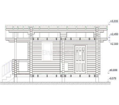 Проект бани из профилированного бруса с верандой «Щербинка»