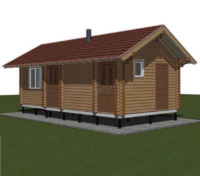 «Видное-2» — проект одноэтажной бани из профилированного сухого бруса