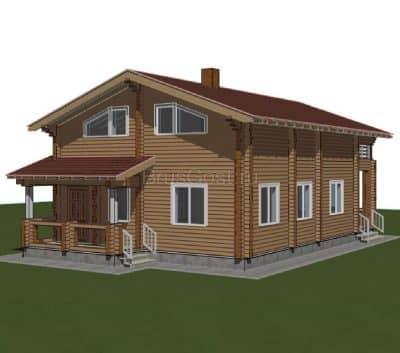 «Волоколамск» — проект двухэтажного загородного дома из профилированного сухого клееного бруса под ключ