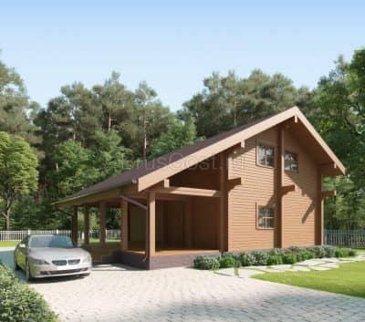«Апрелевка» — проект двухэтажный дом-баня для постоянного проживания из профилированного сухого бруса  под ключ