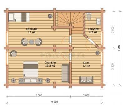 Проект дом — баня из бруса профилированного «Апрелевка»