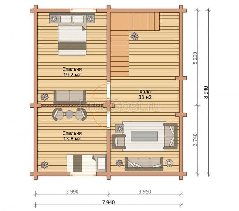 «Арсаки» — проект двухэтажного современного дома из профилированного бруса 9х9 м под ключ