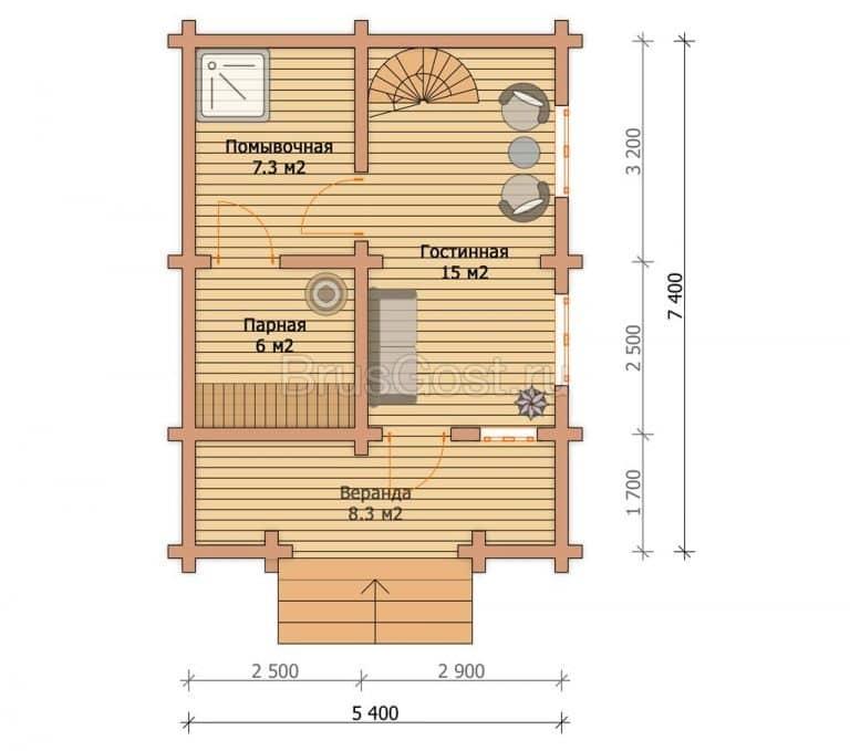 «Дедовск» — проект бани из клееного бруса 6х8 м с полуторным этажом под ключ