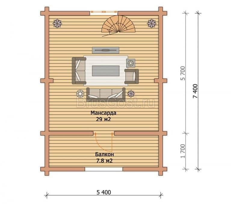 «Дедовск» — проект бани из профилированного бруса 6х8 м с полуторным этажом под ключ