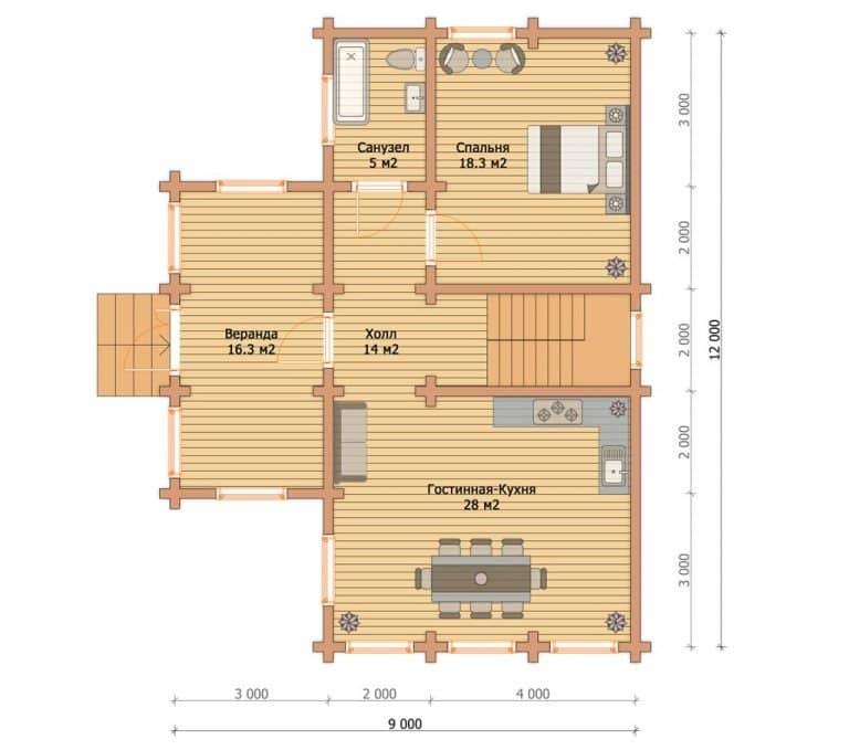 «Домодедово» — проект двухэтажного дома из бруса