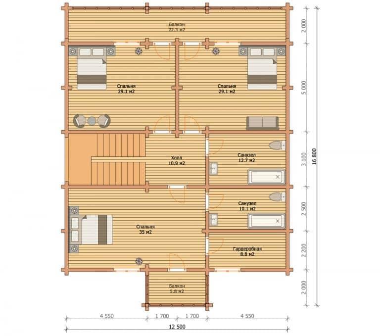 «Липецк» — проект двухэтажного дома из клееного бруса 16.6х16.8 м под ключ