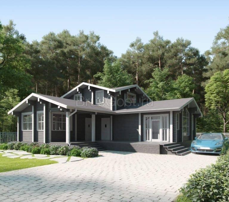 «Лоза» — проект двухэтажного красивого дома-бани из сухого бруса под ключ