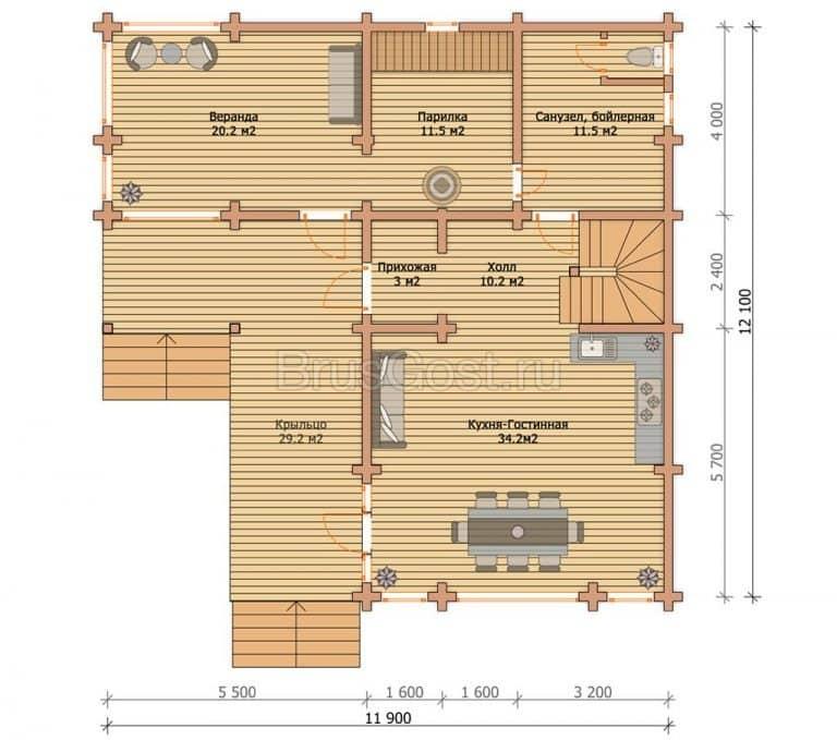 «Лоза» — проект двухэтажного красивого дома-бани из клееного бруса под ключ