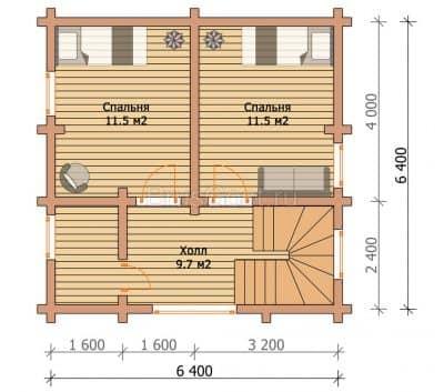 «Лоза» — проект двухэтажного красивого дома-бани из профилированного сухого бруса под ключ