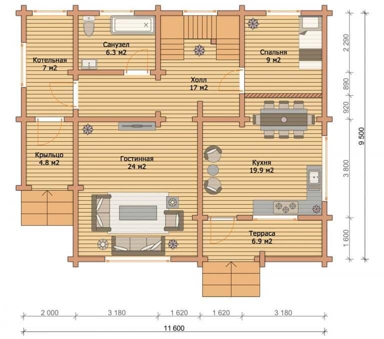 «Можайск» — проект двухэтажного дома из бруса