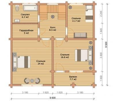 «Можайск» — проект двухэтажного коттеджа для постоянного проживания из профилированного сухого бруса под ключ