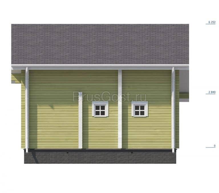 «Ступино» — проект двухэтажный дом-баня из бруса с верандой