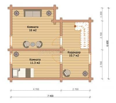 «Ступино» — проект двухэтажного дома-бани из профилированного сухого бруса 7х8 м с верандой под ключ