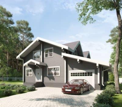 Проект дома с гаражом из бруса профилированного «Калининец»