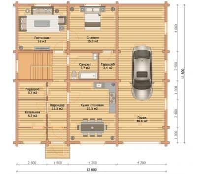 «Калининец» — проект элитного двухэтажного коттеджа с гаражом из профилированного сухого бруса под ключ