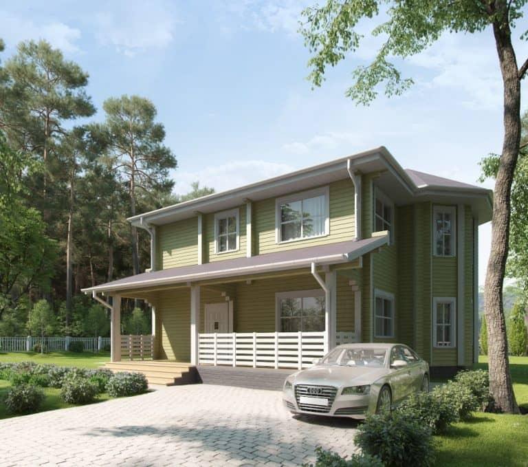 «Калуга» — проект двухэтажного загородного коттеджа с эркером из сухого бруса под ключ