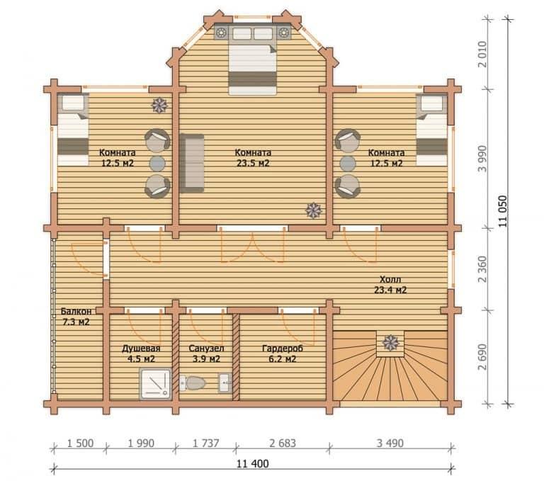 «Калуга» — проект двухэтажного загородного коттеджа с эркером из профилированного бруса под ключ