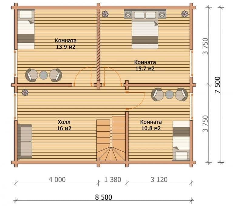 «Киржач» — проект двухэтажного дачного дома для постоянного проживания из профилированного бруса под ключ