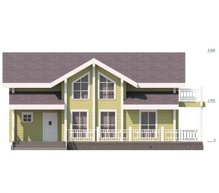 «Коломна» — проект двухэтажного дома с верандой из бруса