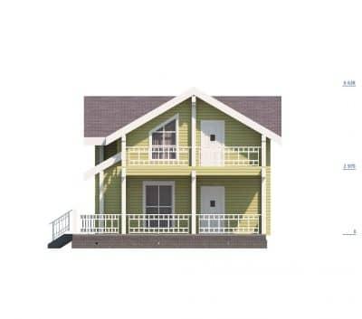 «Коломна» — проект современного двухэтажного загородного дома с верандой из профилированного сухого бруса под ключ