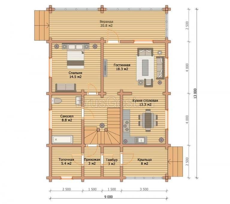 «Серпухов» — проект двухэтажного современного загородного дома из профилированного бруса под ключ