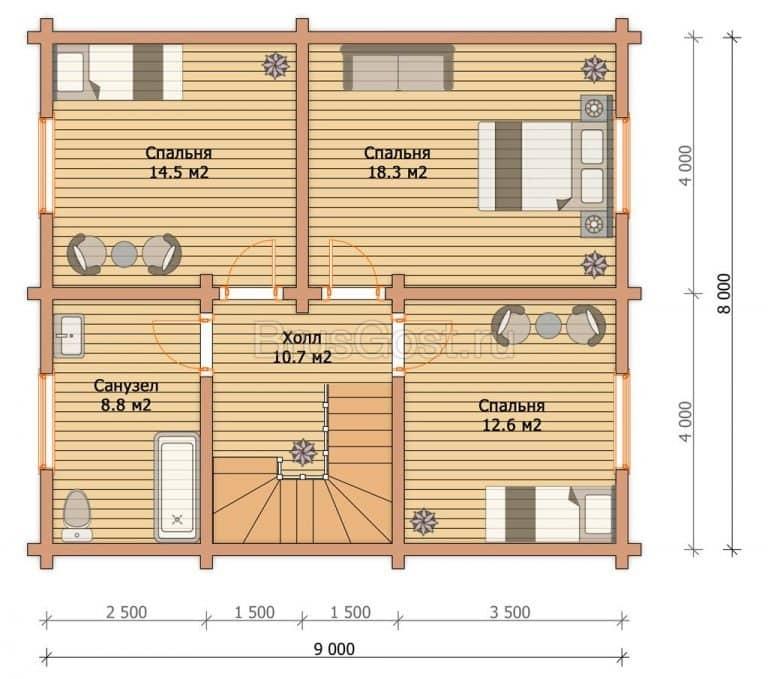 «Серпухов» — проект двухэтажного современного загородного дома из сухого бруса под ключ