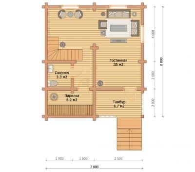 «Верея» — проект двухэтажного дома для постоянного проживания из профилированного сухого бруса под ключ